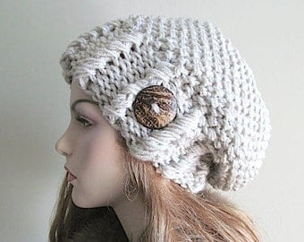 Slouchy Beanie Slouch Hats Oversized Baggy Beret Button womens fall winter accessory Linen Grey Super Chunky Hand Made Knit