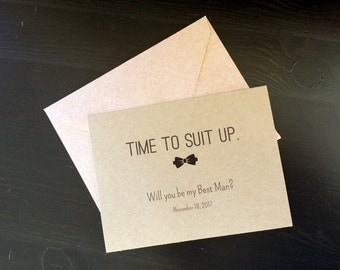 1 Time To Suit Up postcard with wedding date - personalized groomsman or best man postcard with envelope