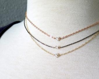 Herkimer Diamond Necklace, Delicate Diamond Necklace, Rose Gold Herkimer Necklace, Sterling Herkimer Diamond Necklace, Dainty Gold Necklace