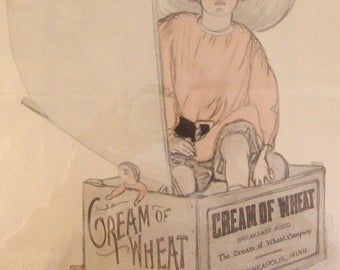 1920s Cream of Wheat Framed Ad, The Pirate by Florence Wyman, Original Advertisement