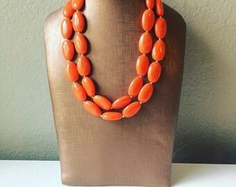 Orange Statement Necklace, Chunky Beaded Necklace, Orange Jewelry, Fall Jewelry, Fall Necklace, spring Necklace, orange beaded necklace