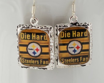 Pittsburgh Steelers Football Earrings Jewelry Silver 3D Dimensional Picture Earrings