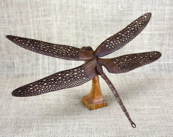 Dragonfly Wood Carving Hand Carved By Mike Berlin, Woodcarving, Wildlife Art