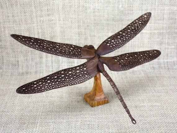 Dragonfly Wood Carving ,Hand Carved By Mike Berlin