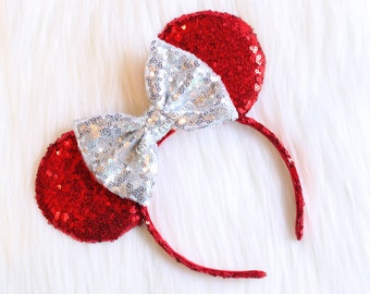 Red Ears Mouse Ears Headband.All Over Sequin Mouse Ears Headband. Holiday Mouse Ears. Disney Headband. One Size Fits Most.
