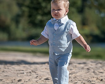 Ring bearer outfit Baby boy light blue suit Baptism linen suit Christening outfits Boy 1st birthday outfit Boy formal suit Boy photo prop