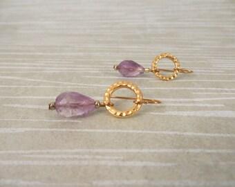 Amythest drop earrings, gold dangle earrings, purple drop earrings, hammered gold earrings, purple gold dangle earrings, amythest  (E99)