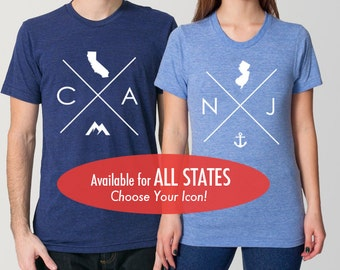 All States and Washington DC Tri Blend Track T-Shirt - Unisex Tee Shirts Size XS S M L XL 2XL