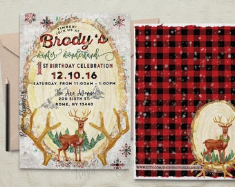 Lumberjack Winter Wonderland Invitation.Plaid Birthday Invite.Flannel Invite.Deer Invite.Rustic Party.Lumberjack Party