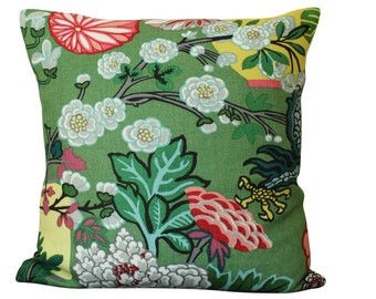 Schumacher Chiang Mai Dragon Pillow Cover in Jade- Lanterns and Flowers