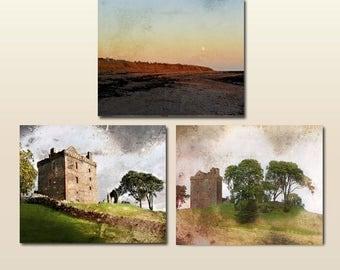 Set of 3 Prints, Art Set, Scottish Art, Castle Photography, Beach, Photo Set, Scotland, Print Set of Three