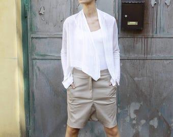 White summer top, asymmetrical cardigan, Long Sleeve shawl, white wrap, long sleeve warp shawl, open cardigan, loose jacket, casual top