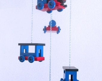 Colorful Train Mobile in Thomas the Tank Engine colors - Upcycled Scrap Wood
