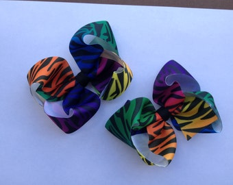 Ready to Ship Rainbow Zebra print Pigtail Boutique Hair Bows
