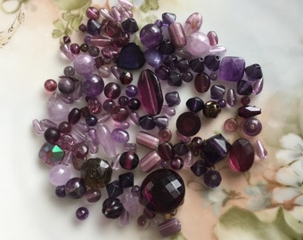 bead soup purple lilac lavender amethyst destash mix glass stone variety assemblage jewelry supplies, lot of over 120 pcs