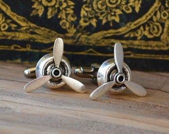 Gifts for pilot, steampunk cufflinks, military husband, military boyfriend, propeller Cuff links, boyfriend cufflinks, airforce cufflinks