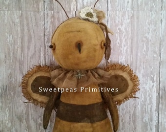 Primitive Folk Art Rustic Farmhouse Decor Spring Honey Bee Doll with Bee Skep Original One of a Kind ~Free Shipping~ Sweetpeas Primitives