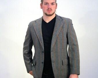 60s Wool Blazer Brown Blazer Orange Pinstripe by MisterBibs