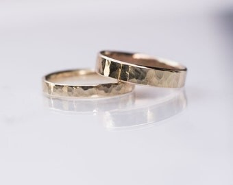 Gold Wedding Band Ring For Men - Male Wedding Ring - Hammered, Satin, or Polished