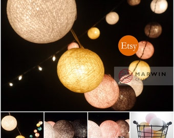 35 Pastel Shade Tone Color Cotton Balls Fairy String Lights Party Patio Wedding Floor Table  Hanging Gift Home Decor Living Bedroom Holiday