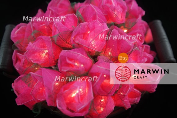 35 Pink Rose Flower Fairy String Lights Wedding Party Floral Decor Floral Party Patio Wedding Floor Hanging Gift Home Decor 3.5m