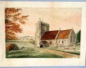 Antique English watercolour Upper Winchendon Church painting Buckinghamshire landscape Graveyard Autumn trees Churchyard Tindall Wildridge