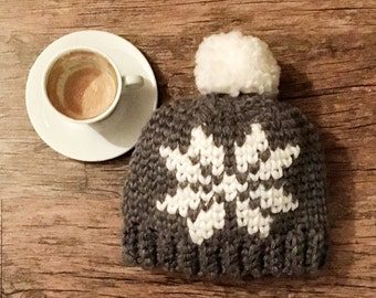 Crochet Pattern Nordic snowflake hat, Sweedish bulky woman beanie knit look hat pom pom winter , DIY photo tutorial, Instant download