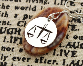 Libra Necklace astrology zodiac Sign jewelry Sterling silver charm round charm Personalized Gift Birthday gift - horoscope Symbol gift idea