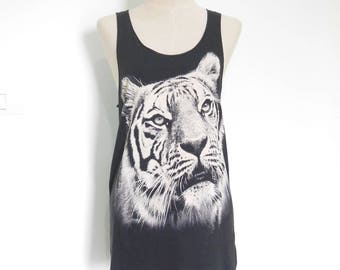 Tiger tank tiger t shirt men tank women tank top Women T-Shirt animal Shirt workout tees graphic tees Tunic Screen Print Size S