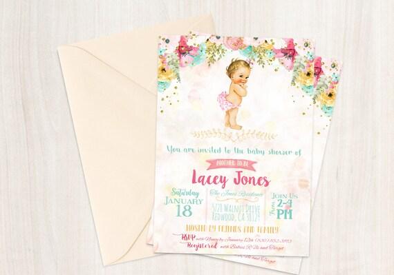 Vintage Baby Girl Baby Shower Invitations, Baby Shower Invitations, Printable Invitations, Baby Girl, Blonde, Teal, Pink, Floral 001