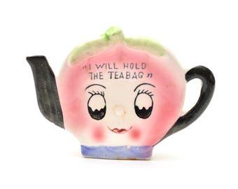 60s Teabag Holder Tea Pot Novelty Japan Pink Ceramic