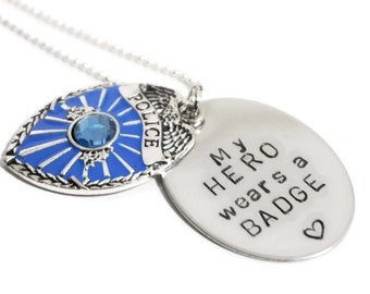 Police Wife - Necklace - My Hero - Badge - Personalized - Officer Mom