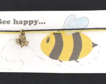 BEE HAPPY Friendship bracelet on waxed cotton cord OR Silver Plated Key Ring