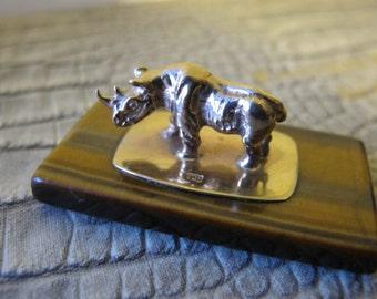 Estate 9Ct Yellow Gold Rhino Rhinoceros Animal Miniature Tigers Eye Gemstone. Miniature Art. Solid Gold.Travel Souvenir. Desk Top Curiosity