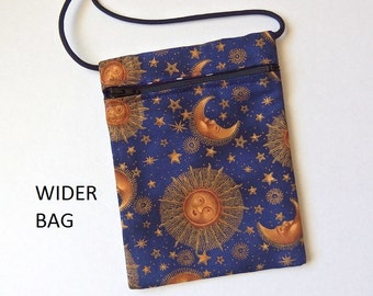 """Pouch Zip Bag SUNS Moon Stars Fabric. Great for walkers markets travel.  Cell Phone Pouch. Small fabric celestial purse WIDER bag 6.75"""" x 5"""""""
