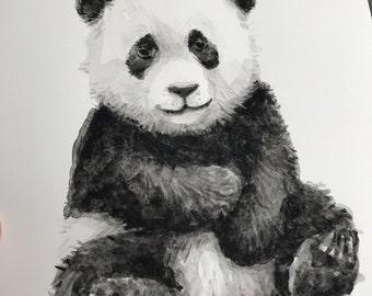 Baby Panda Watercolor Original Painting Cute Panda Baby Animals Nursery Wall Art Animal Watercolor Home Decor 7x10