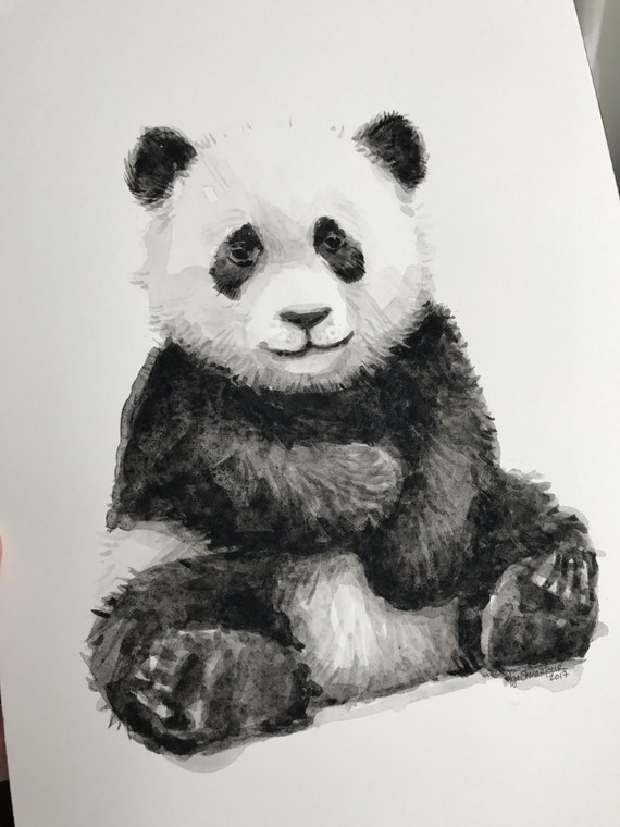 baby panda watercolor original painting cute panda baby
