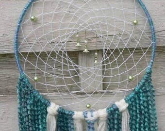 Spring Dreamcatcher, blue-green and white with flowercharms, homedecor wallhanging or window decoration, in to sizes