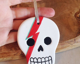David Bowie Ziggy Stardust Day of the Dead Sugar Skull Ornament