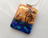 Palm Tree Pendant, Fused Dichroic Glass Jewelry, Tropical Birds, Heron Necklace