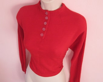 Bombshell Best Vintage 1950s 50s Red Wool Pullover Jumper Sweater with Dolman/Batwing Sleeves -JD-Juvenile Delinquent-Bad Girl-Pinup-Vixen