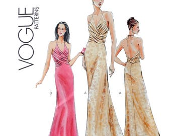 Halter Women's Gown Sewing Pattern - Mock wrap Pleated Gathered bodice overlay, Open back  - Vogue 7851 Size 14 16 18 Bust 36 38 40