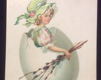 Easter Postcard-Girl with Egg Costume