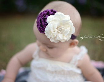 Satin Baby headband, Plum and ivory flower Headband, infant headbands, Newborn Photo Prop, Fall Holiday headband, newborn headband