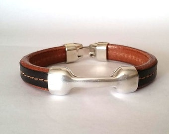 Leather bracelet, mens bracelet,  silver plated, husband gift, plus size, brown bracelet