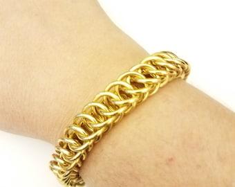 Gold Aluminum Half Persian Chainmail Bracelet