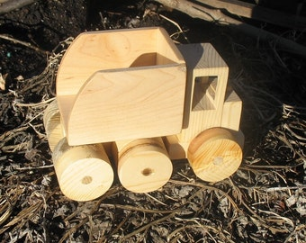 The Big Dumper, solid wood toy dump truck made from pine and maple