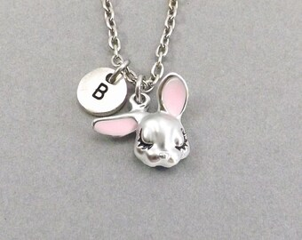 Bunny Necklace, Rabbit Necklace, Easter Bunny Jewelry, Personalized Pet Jewelry, Gift for Her, 4H