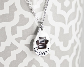 Writer - Hand Stamped Pewter Typewriter Necklace - Gift for Author Novelist - Writing Jewelry - Fiction, Poetry, Fanfic, Genre Write