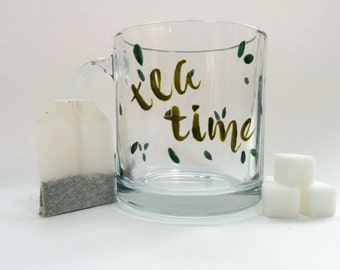 Hand Painted Glass Mug - Tea Time - Translucent Green Calligraphy and Leaves on a Clear Glass Mug